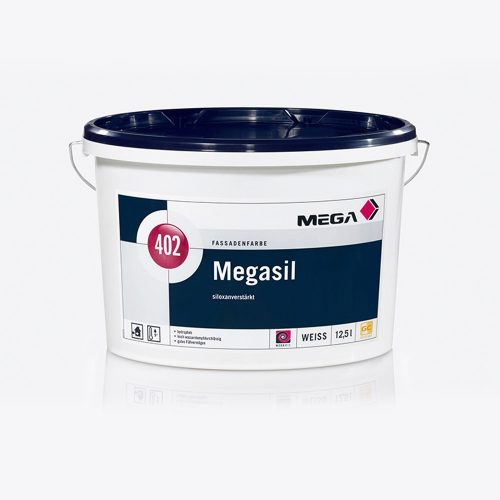 Fassadenfarbe Megasil 402 siloxanverstaerkt weiss Mega